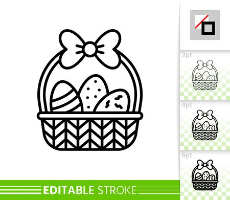 Easter egg basket thin line icon. Holiday poster. Spring banner in flat style. Simple illustration, outline symbol. Linear pictogram. Vector sign isolated on white. Editable stroke icon without fill Stock Illustratie