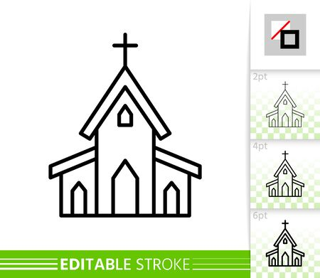 Church building thin line icon. Holiday poster. Spring banner in flat style. Simple illustration, outline symbol. Linear pictogram. Vector sign isolated on white. Editable stroke icon without fill