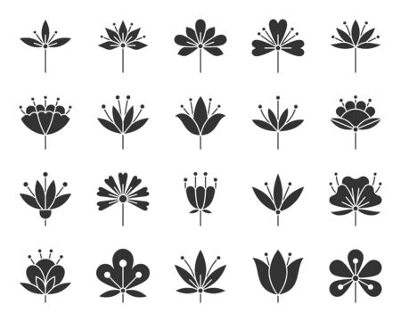 Stylized Flower silhouette icons set. Sign kit of spring plant. Floral Graphic pictograms of chamomile, cherry, decoration. Simple stylized flower black symbol isolated on white. Vector Icon shape