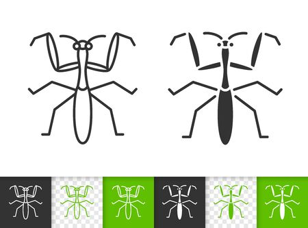 Mantis Religiosa black linear and silhouette icons. Thin line sign of predatory insect. Bug outline pictogram isolated on white, color, transparent background. Vector Icon shape. Simple symbol closeup Vettoriali