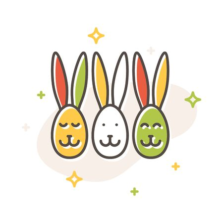 Easter egg bunny rabbit concept in flat cartoon style. Filled outline icon design. Simple sign of Spring. Cute color symbol. Print, poster, banner, card design. Vector Illustration isolated on white