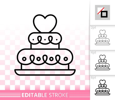 Wedding cake thin line icon. Outline web sign of sweet dessert. Linear pictogram with different stroke width. Simple vector symbol, transparent background. Party food editable stroke icon without fill Ilustrace