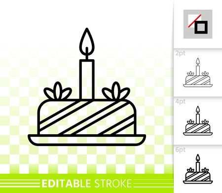 Birthday Cake with candle thin line icon. Sweet food banner, flat style. Dessert poster. Linear pictogram. Simple illustration, outline symbol. Cupcake vector sign, editable stroke icons without fill