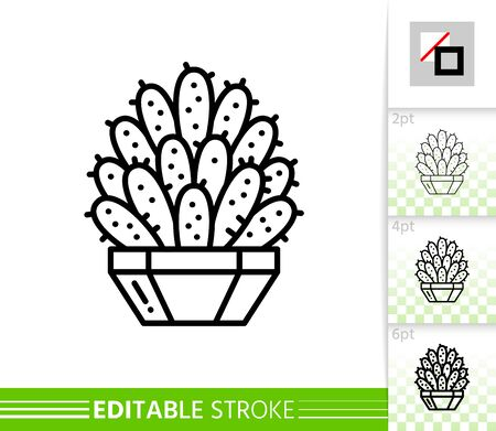 Cactus thin line icon. Succulent banner in flat style. Houseplant poster. Linear pictogram. Prickly pear simple illustration, outline symbol. Vector sign isolated. Editable stroke icons without fill Stock Illustratie
