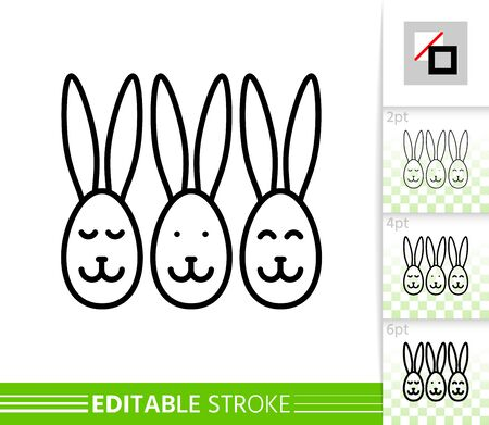 Easter bunny egg faces thin line icon. Holiday poster. Spring banner in flat style. Simple illustration, outline symbol. Linear pictogram. Vector sign isolated white. Editable stroke icon without fill Stock Illustratie