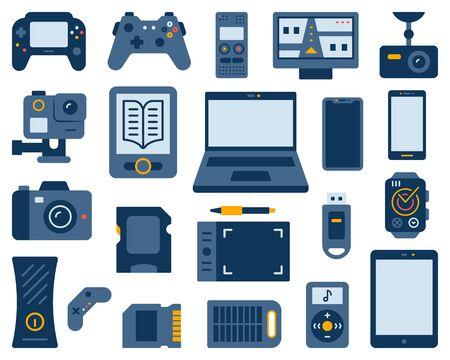 Dispositivo simple conjunto de estilo de dibujos animados planos. La colección de letreros de gadgets incluye computadora portátil, teléfono inteligente, grabadora digital, batería solar. Kit de iconos de electrónica. Símbolo de color aislado en blanco. Ilustración vectorial