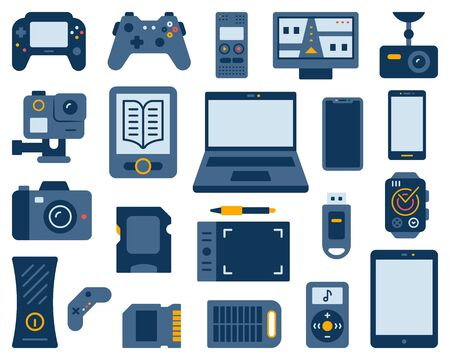 Urządzenie proste płaski zestaw stylu cartoon. Kolekcja znaków gadżetowych obejmuje laptopa, smartfona, rejestrator cyfrowy, baterię słoneczną. Zestaw ikon elektroniki. Symbol koloru na białym tle. Ilustracja wektorowa