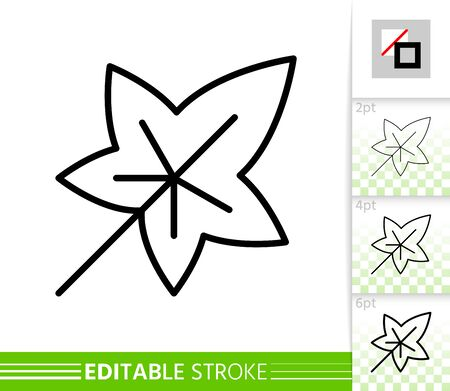 Leaf ivy thin line icon. Nature banner, flat style. Botanical poster. Linear pictogram. Foliage simple illustration, outline symbol. Vector sign isolated on white. Editable stroke icons without fill Ilustração