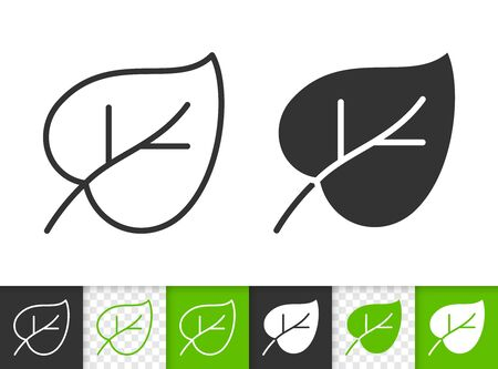 Leaf black linear and silhouette icons. Thin line sign of lilac leaves. Foliage outline pictogram isolated on white, green, transparent backdrop. Sprout vector icon shape. Plant simple symbol closeup Иллюстрация