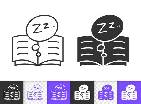 Bedtime black linear and silhouette icons. Thin line sign of dream read. Open Book outline pictogram isolated on white, transparent background. Vector Icon shape. Storybook simple symbol closeup