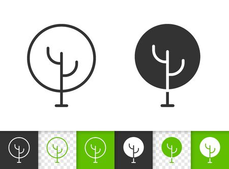 Geometric round tree black linear and silhouette icons. Thin line sign of abstract sapling. Plant outline pictogram on white, transparent background. Vector Icon shape. Oak simple symbol closeup Illustration