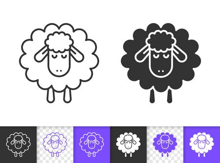 Sheep black linear and silhouette icons. Thin line sign of lamb. Sleep outline pictogram isolated on white, color, transparent background. Vector Icon shape. Farm animal simple symbol closeup