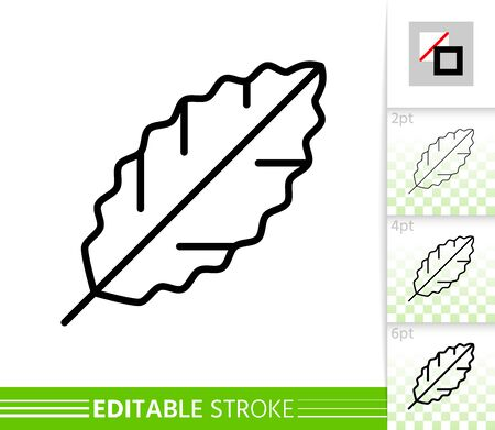 Leaf laurel thin line icon. Nature banner, flat style. Botanical poster. Linear pictogram. Foliage simple illustration, outline symbol. Vector sign isolated on white Editable stroke icons without fill