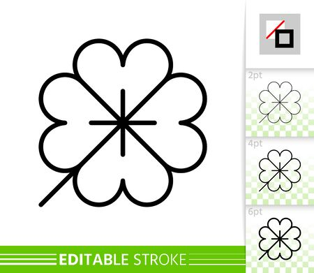 Leaf clover thin line icon. Nature banner, flat style. Botanical poster. Linear pictogram. Foliage simple illustration, outline symbol. Vector sign isolated on white Editable stroke icons without fill