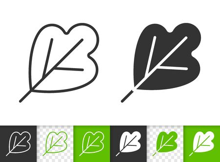 Abstract Leaf black linear and silhouette icons. Thin line sign of plant. Foliage outline pictogram isolated on white, transparent background. Vector Icon shape. Leaf of tree simple symbol closeup
