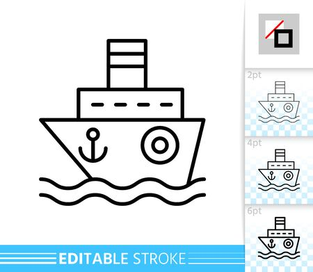 Ship thin line icon. Boat banner in flat style. Cruise poster. Linear pictogram. Simple illustration, outline symbol. Vector sign isolated on white. Editable stroke icons without fill