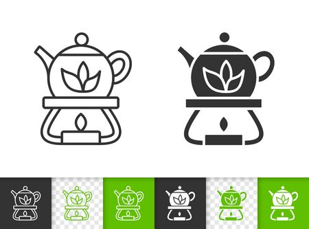 Teapot black linear and silhouette icons. Thin line sign of heated tea. Candle outline pictogram isolated on white, color, transparent background. Vector Icon shape. Teapot simple symbol closeup