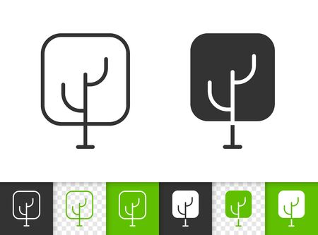 Geometric Tree black linear and silhouette icons. Thin line sign of abstract sapling. Oak outline pictogram isolated on white, transparent background. Vector Icon shape. Oak simple symbol closeup