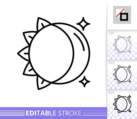 Moon and Sun thin line icon. Day and Night flat style banner. Celestial poster. Linear pictogram. Simple illustration, outline symbol. Vector sign isolated on white. Editable stroke icons without fill