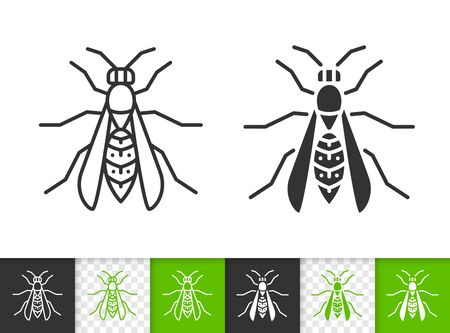 Wasp black linear and silhouette icons. Thin line sign of hornet. Bee outline pictogram isolated on white, color, transparent background. Vespidae Vector Icon shape. Yellowjacket bug simple symbol
