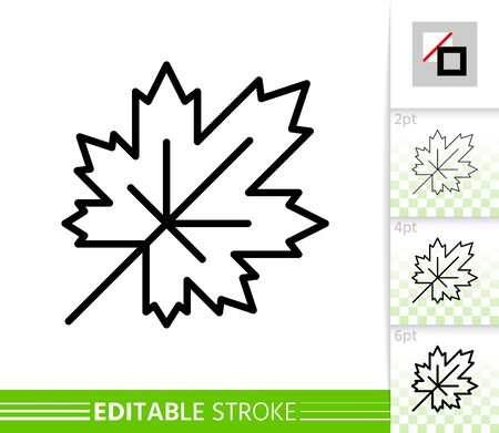 Leaf maple thin line icon. Nature banner, flat style. Botanical poster. Linear pictogram. Foliage simple illustration, outline symbol. Vector sign isolated on white. Editable stroke icons without fill Иллюстрация