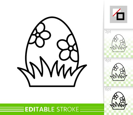 Easter egg in grass thin line icon. Holiday poster. Spring banner in flat style. Simple illustration, outline symbol. Linear pictogram. Vector sign isolated on white. Editable stroke icon without fill