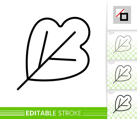 Leaf thin line icon. Outline web sign of plant. Foliage linear pictogram with different stroke width. Simple vector symbol, transparent background. Nature organic eco editable stroke icon without fill Иллюстрация