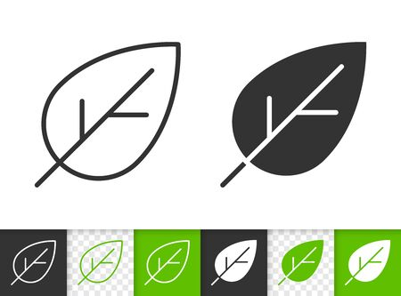 Leaf black linear and silhouette icons. Thin line sign of cherry. Foliage outline pictogram isolated on white, green, transparent background. Sprout vector icon shape. Eco plant simple symbol closeup