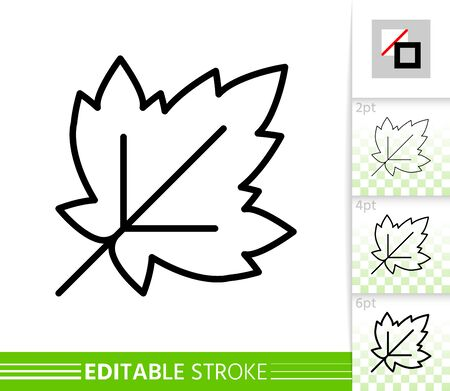 Leaf currant or grapes thin line icon. Nature banner, flat style. Botanical poster. Linear pictogram. Simple illustration, outline symbol. Vector sign isolated white, ditable stroke icons without fill