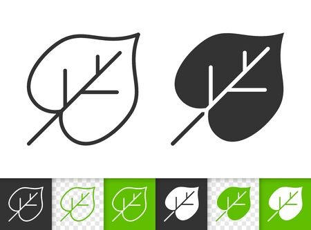 Leaf of tree black linear and silhouette icons. Thin line sign of lime leaves. Linden outline pictogram isolated on white, color, transparent background. Vector Icon shape. Leaf simple symbol closeup