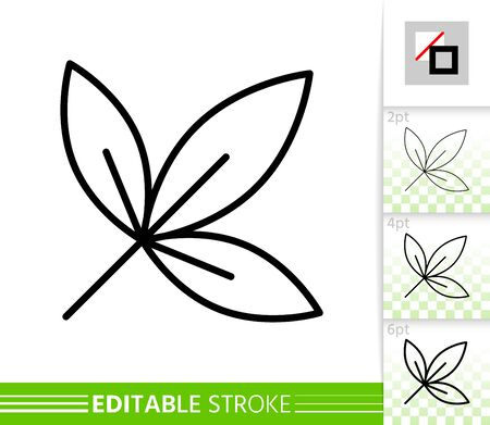 Leaf ash or maple thin line icon. Nature banner, flat style. Botanical poster. Linear pictogram. Simple illustration, outline symbol. Vector sign isolated on white. Editable stroke icons without fill Иллюстрация