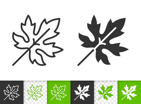 Leaf black linear and silhouette icons. Thin line sign of grapes. Maple outline pictogram isolated on white, green, transparent background. Sprout vector icon shape. Eco plant simple symbol closeup