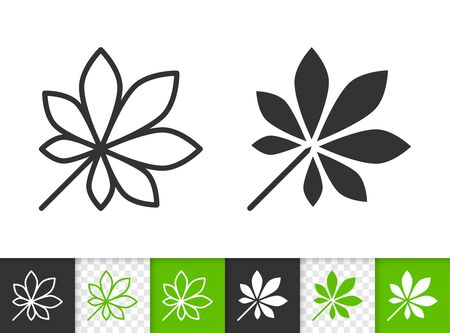 Leaf black linear and silhouette icons. Thin line sign of chestnut. Foliage outline pictogram isolated on white transparent background. Sprout vector icon shape. Eco green plant simple symbol closeup
