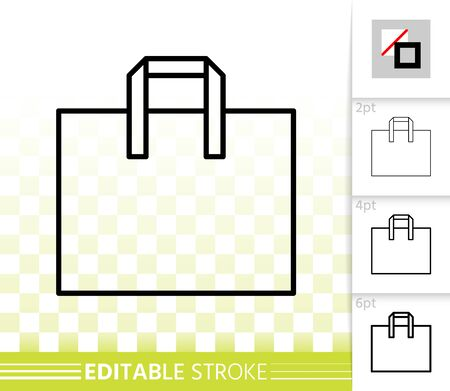 Shopping Bag thin line icon. Outline web sign of package. Sale linear pictogram with different stroke width. Simple vector symbol, transparent background. Retro Bag editable stroke icon without fill