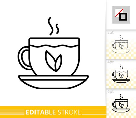 Green Tea thin line icon. Glass Cup banner in flat style. Teacup poster. Mug Linear pictogram. Simple illustration, outline symbol. Vector sign isolated on white. Editable stroke icons without fill