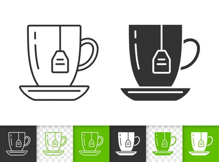 Green Tea black linear and silhouette icons. Thin line sign of mug. Teabag outline pictogram isolated on white, color, transparent background. Vector Icon shape. Hot beverage simple symbol closeup Çizim