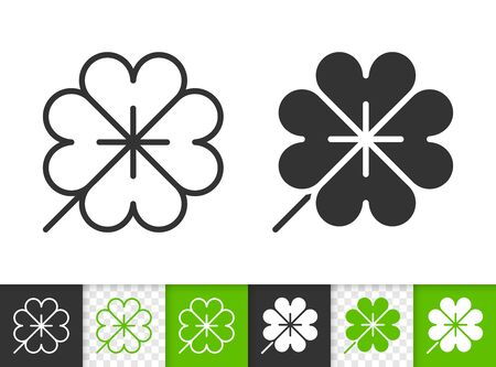 Leaf black linear and silhouette icons. Thin line sign of clover. Foliage outline pictogram isolated on white, transparent background. Vector Icon shape. Nature organic eco simple symbol closeup Иллюстрация