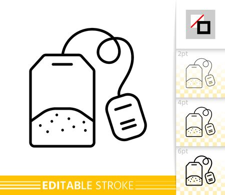 Tea Bag thin line icon. Label banner in flat style. Green tea poster. Linear pictogram. Simple illustration, outline symbol. Vector sign isolated on white. Editable stroke icons without fill