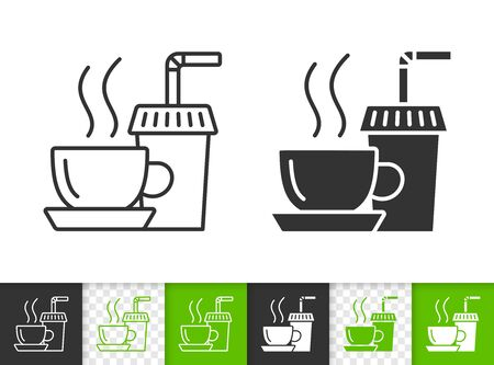 Tea black linear and silhouette icons. Thin line sign of coffee. Paper Cup outline pictogram isolated on white, color, transparent background. Vector Icon shape. Hot beverage simple symbol closeup Çizim