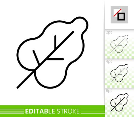 Leaf thin line icon. Nature banner, flat style. Botanical poster. Organic linear pictogram. Foliage simple illustration, outline symbol. Vector sign isolated white. Editable stroke icons without fill