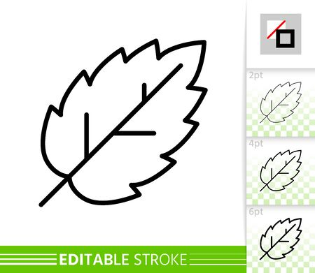 Leaf elm or birch thin line icon. Nature banner, flat style. Botanical poster. Linear pictogram. Simple illustration, outline symbol. Vector sign isolated on white. Editable stroke icons without fill