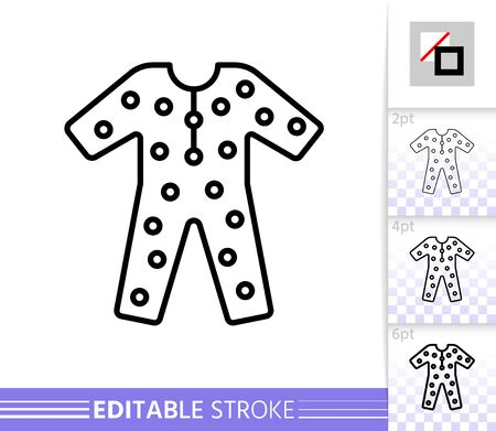 Pajama thin line icon. Sleepwear banner in flat style. Wear poster. Linear pictogram. Simple illustration, outline symbol. Nightwear Vector sign isolated on white. Editable stroke icons without fill