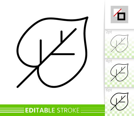 Leaf thin line icon. Outline web sign of lime. Linden linear pictogram with different stroke width. Simple vector symbol, transparent background. Foliage organic eco editable stroke icon without fill Иллюстрация