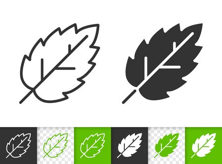 Leaf of tree black linear and silhouette icons. Thin line sign of elm. Birch outline pictogram isolated on white, color, transparent background. Vector Icon shape. Green leaf simple symbol closeup