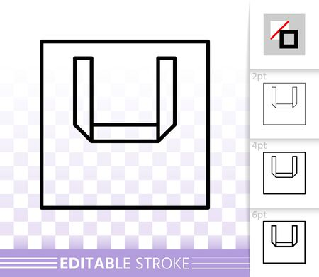 Shopping Bag thin line icon. Outline web sign of package. Sale linear pictogram with different stroke width. Simple vector symbol transparent background. Shopping Bag editable stroke icon without fill Векторная Иллюстрация