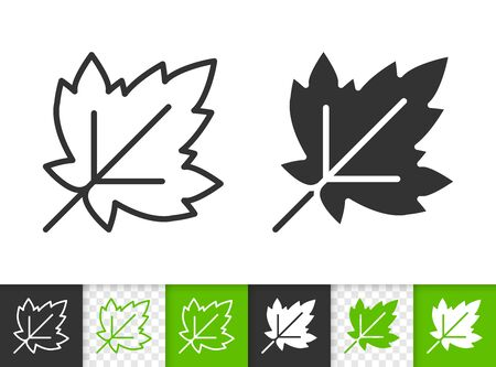 Leaf of tree black linear and silhouette icons. Thin line sign of currant. Grapes outline pictogram isolated on white, color, transparent background. Vector Icon shape. Leaf simple symbol closeup