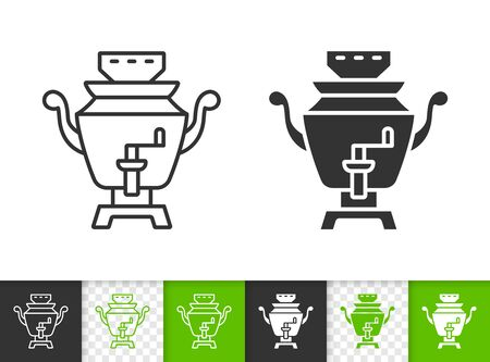 Samovar black linear and silhouette icons. Thin line sign of russian tea. Teapot outline pictogram isolated on white, color, transparent background. Vector Icon shape. Samovar simple symbol closeup