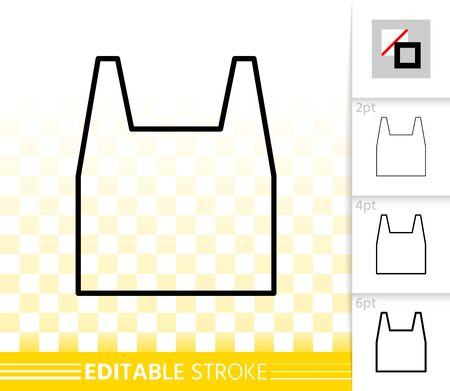 Shopping Bag thin line icon. Outline sign of package. Sale linear pictogram with different stroke width. Simple vector symbol, transparent background. Plastic handbag editable stroke icon without fill