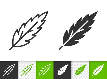 Leaf black linear and silhouette icons. Thin line sign of rowan. Plant outline pictogram isolated on white, green, transparent background. Sprout vector icon shape. Eco plant simple symbol closeup