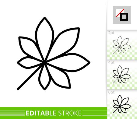 Leaf chestnut thin line icon. Nature banner, flat style. Botanical poster. Linear pictogram. Foliage simple illustration, outline symbol. Vector sign isolated white. Editable stroke icons without fill Иллюстрация